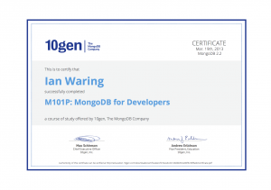 MongoDB for Developers Course Certificate