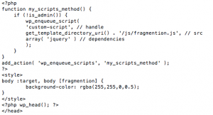 Fragmention Code in header.php