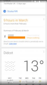 Google Now Walking Stats Screenshot