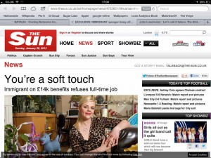 "The Sun - Headline ""You're a soft touch"""