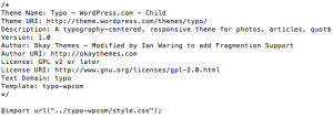 Code in style.css in WP Child Theme