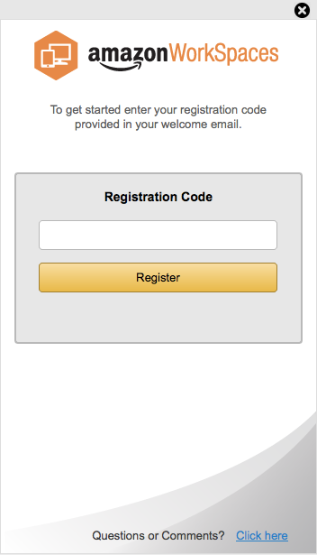 AWS WorkSpaces Registration