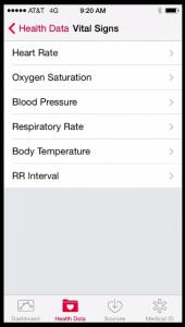 Health App Vital Signs